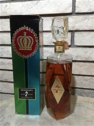 Seagrams Seven Crown Whiskey Decanter Bottle with box