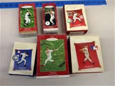 Lot of six hallmark baseball Christmas ornaments