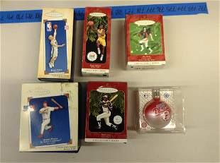 Lot of six sports Christmas ornaments