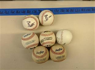 Seven baseballs with two Trenton thunder signatures