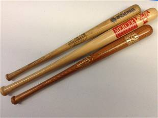 Lot of three miniature baseball bats one signed