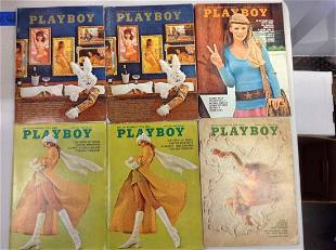 Lot of six 1970 Playboy magazines