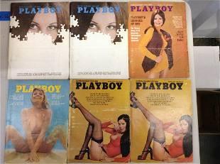 Lot of six 1971-74 Playboy magazines