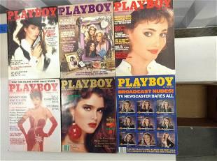 Lot of six 1979-89 Playboy magazines