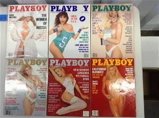 Lot of six 1990-91 Playboy magazines