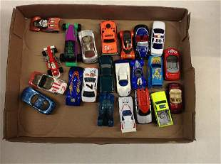 Box of Hot Wheels, Matchbox, and Other Toy Cars
