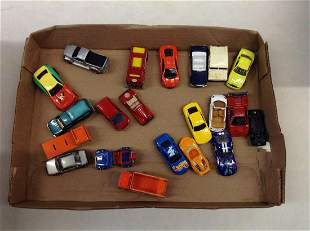 Box of Hot Wheels, Maisto, and Other Toy Cars