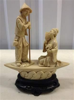 bone carved asian statue