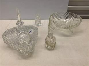 Crystal perfume bottle, lidded dish and more