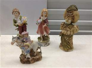 Lot of Vintage Statues two marked with Crown over N