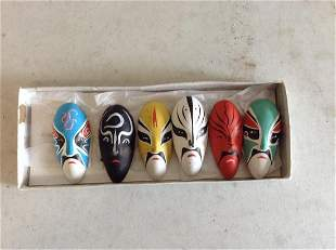 Mini clay hand painted masks