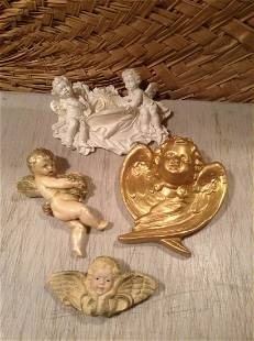 """Lot of Vintage Angel Wall Hangings largest 9"""""""