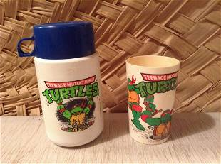 1989 & 1990 Teenage Mutant Ninja Turtle Cup and Thermos