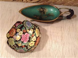 Stamped Asian Bowl and Enameled Dish