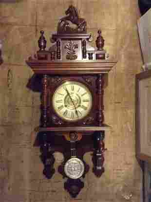 """Intricately Carved Wood Horse Clock 38"""" tall"""
