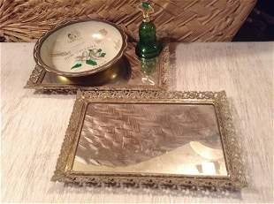 "Two Vintage Mirrored Vanity Trays 14.5""x9.5"" Enamel"