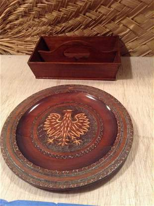 """Hand Carved Eagle Wood Plate 12.5"""" and wooden caddy"""