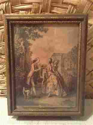 Very Early Wood Box with Framed Print and Mirror on