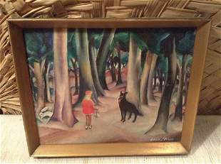 """Original Painting """"Red Riding Hood"""" Signed by the"""