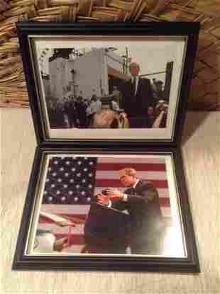 """Two Framed Photographs of George W Bush 12""""x10"""""""