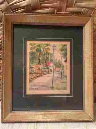 """Early """"Under the Elms"""" Print Pencil Signed by the"""