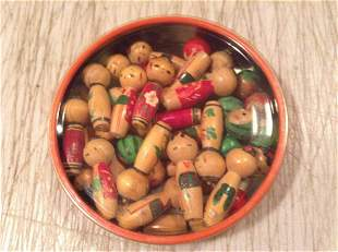 Container of Miniature Asian Wood Figures