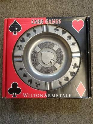 "Wilton Armetale Card Game Metal Ashtray in the box 9.5"""