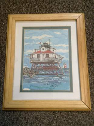 """Original Watercolor """"Thomas Point Light"""" Signed by the"""