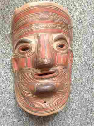 """Hand Sculpted and painted Clay Tribal Mask 10"""" long"""