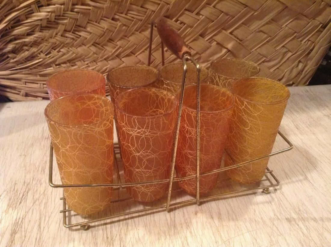 Mid Century Modern Tumbler Set with with Holder