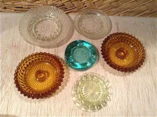 Lot of Vintage Ashtrays and Amber Candlestick holders