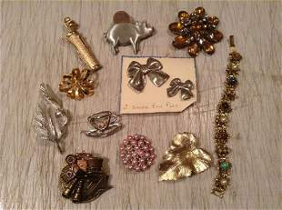 Large lot of Vintage Costume Brooches and more -some