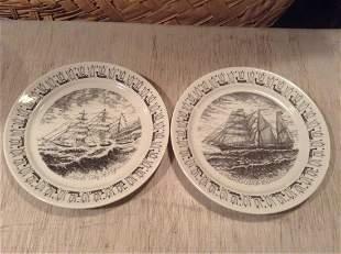 Porsgrund Porcelain Norwegian America Line Ship Plates