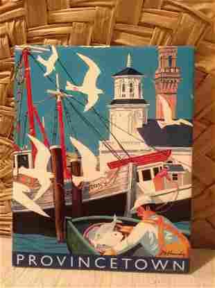"Signed Ceramic ""Provincetown"" Ceramic Tile Wall Hanging"