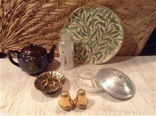 Stangl Bowl, Vintage Jar & Relish Dish , Gold S&P and