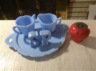 Blue Milkglass Platter with creamer set and more