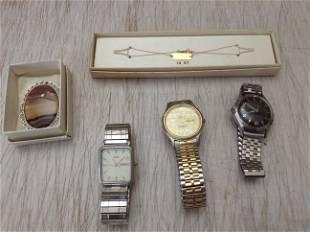 Filligree Brooch, Vintage watches, and 14K ID bracelet