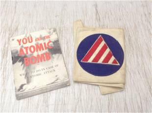 Civil Defense arm band and Atomic Bomb PSA Pamphlet
