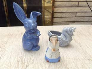 """Ceramic Rabbit 7.5"""", swan planter and witch like bell"""