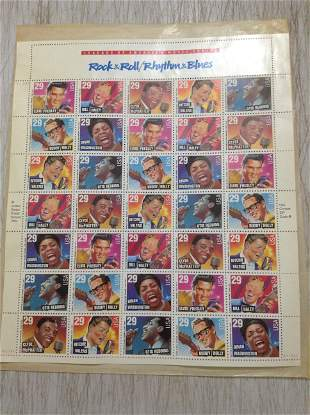 Rock and Roll Rhythym and Blues Stamp Sheet