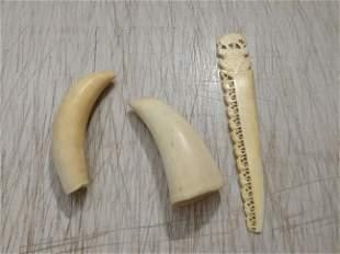 """2 Wild Boar Tusks and Letter Opener longest tusk 3.5"""""""