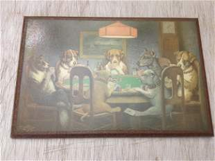 """Signed CM Coolage Poker Dogs Print on Board 15""""x10"""""""