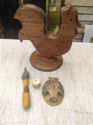 """MCM Wood Rooster 9.5"""", cast iron door knocker and more"""