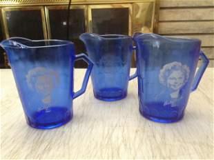 "Three cobalt blue Shirley Temple pitchers 4.5"""