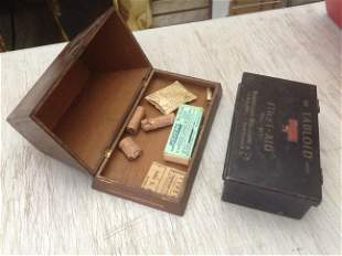 Early Tabloid First Aid Box and Pyramid shaped wood box