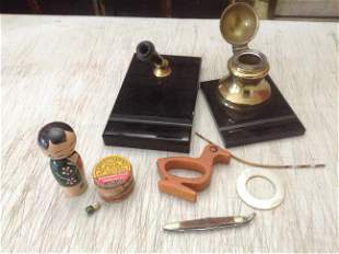 Lot of inkwell and pen holder and other vintage items