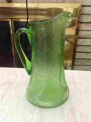 """Green depression glass pitcher 10"""" tall"""