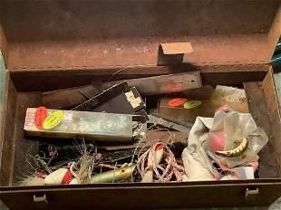 Vintage fishing box full of lures