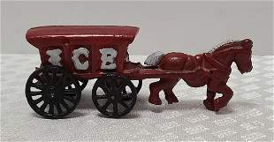 cast iron horse and ice buggy 8x3