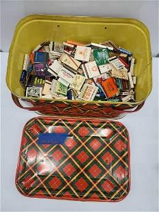 Vintage Matchbooks in Tin Container